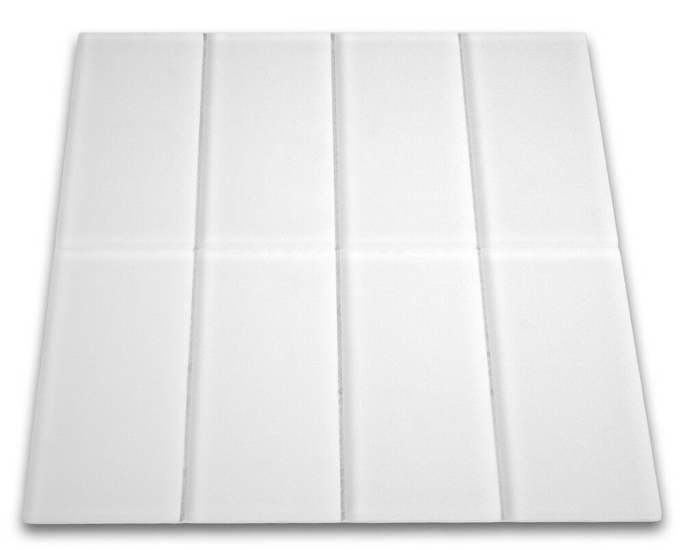 Frosted White Glass Subway Tile 3x6 For Backsplashes Showers More