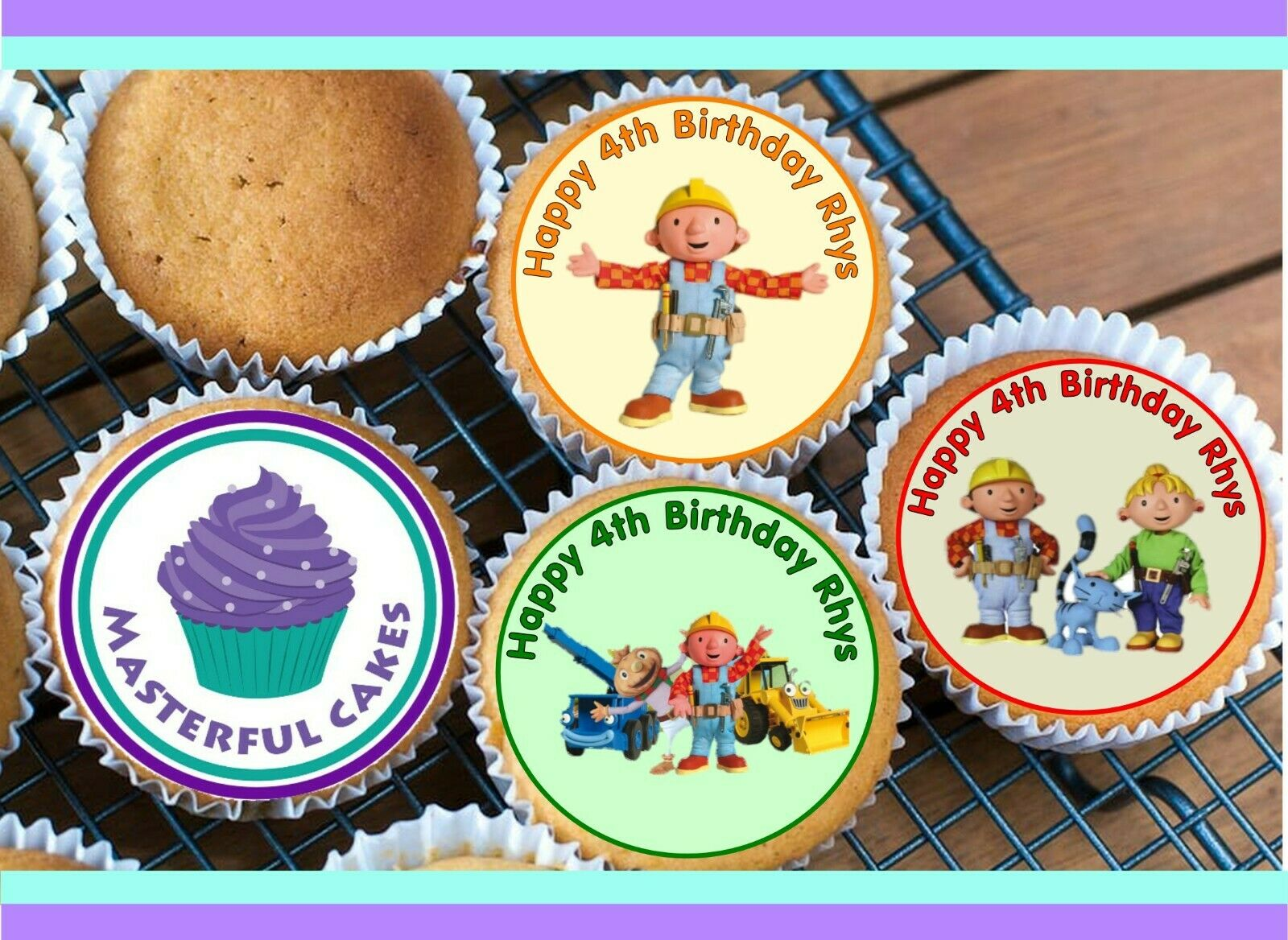 24 Personalised Bob The Builder Edible Rice Paper Cup Cake Toppers