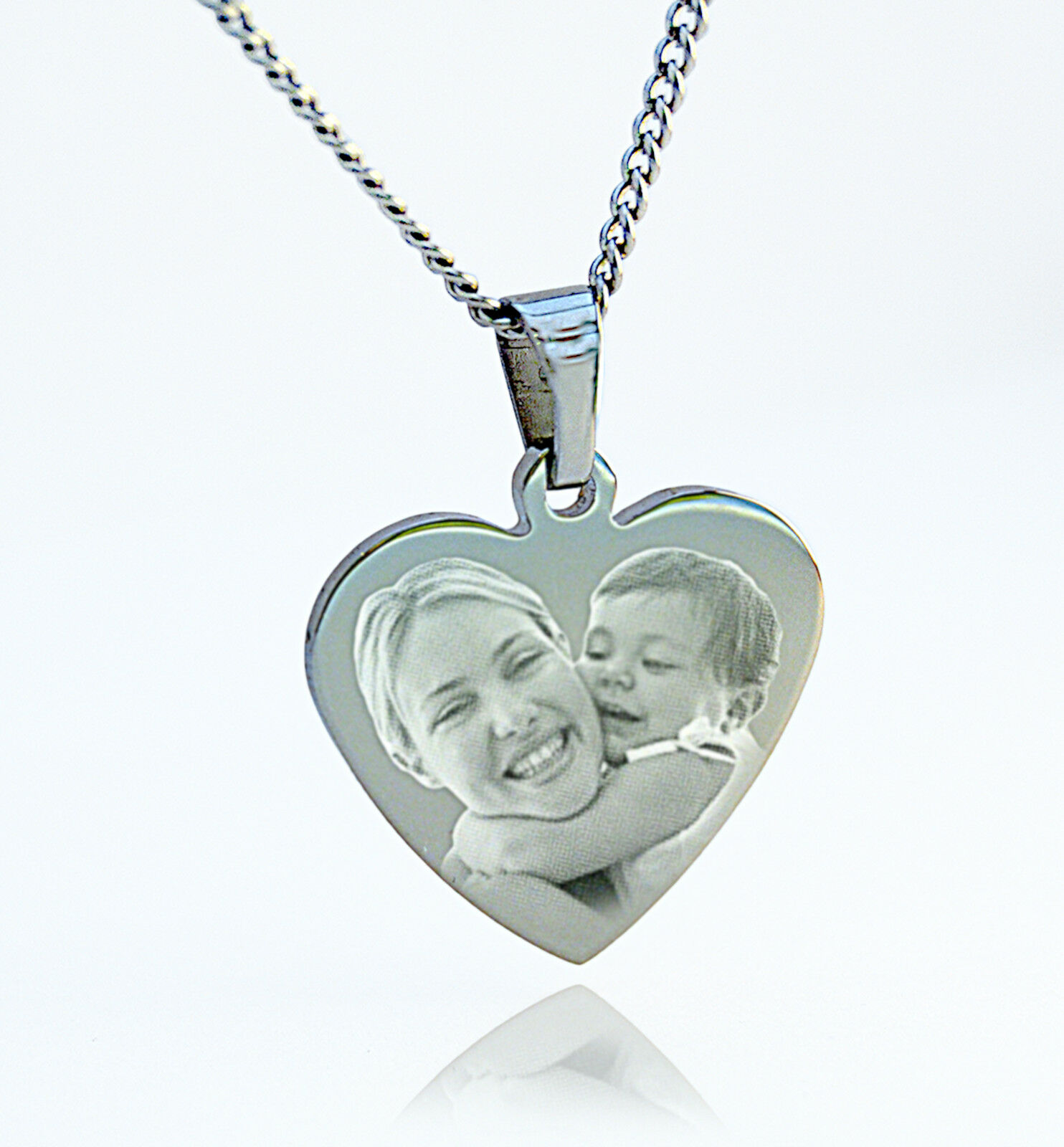 engraved personalised silver stainless steel photo
