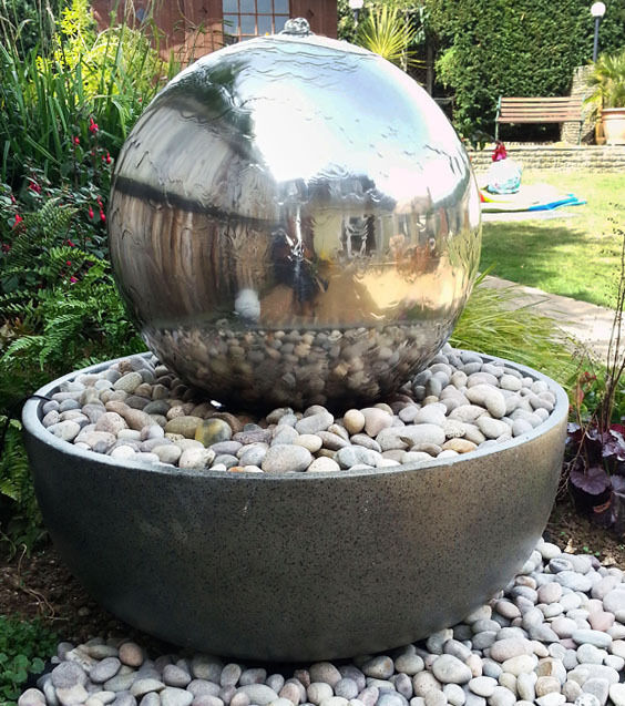 Large eclipse stainless steel sphere 50cm water feature for Fontaine zen exterieur