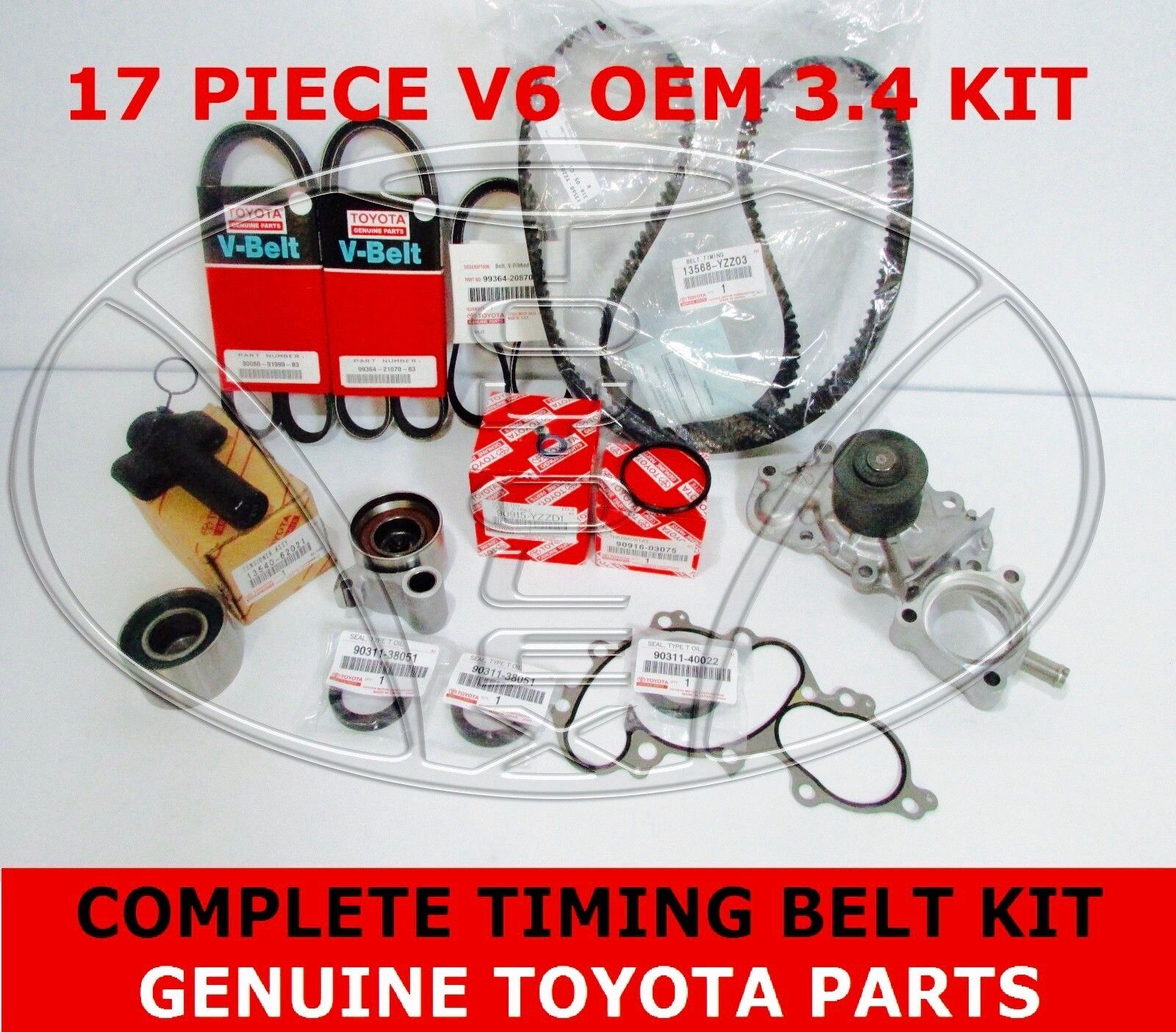 New Genuine Toyota 34 V6 5vzfe Water Pump Timing Belt Kit 17 Pcs For 4runner Tacoma 1 Of 5free Shipping See More