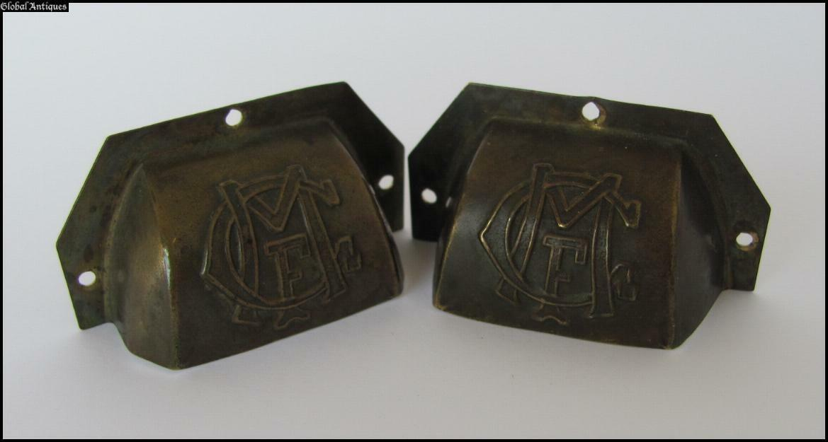 19C. ANTIQUE SET OF TWO BRONZE DRAWER HANDLES w/MONOGRAMS