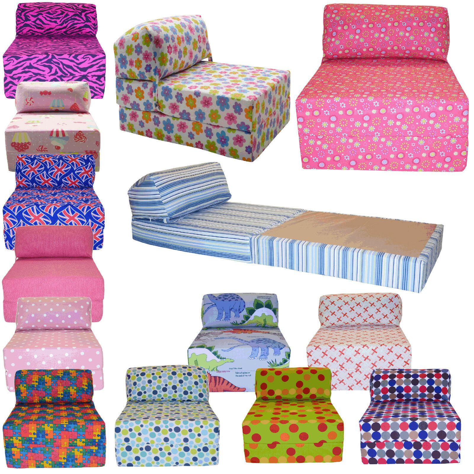 Cotton Print Single Chair Bed Z Guest Fold Out Futon Sofa Chairbed Matress Gilda 1 Of 1free Shipping See More