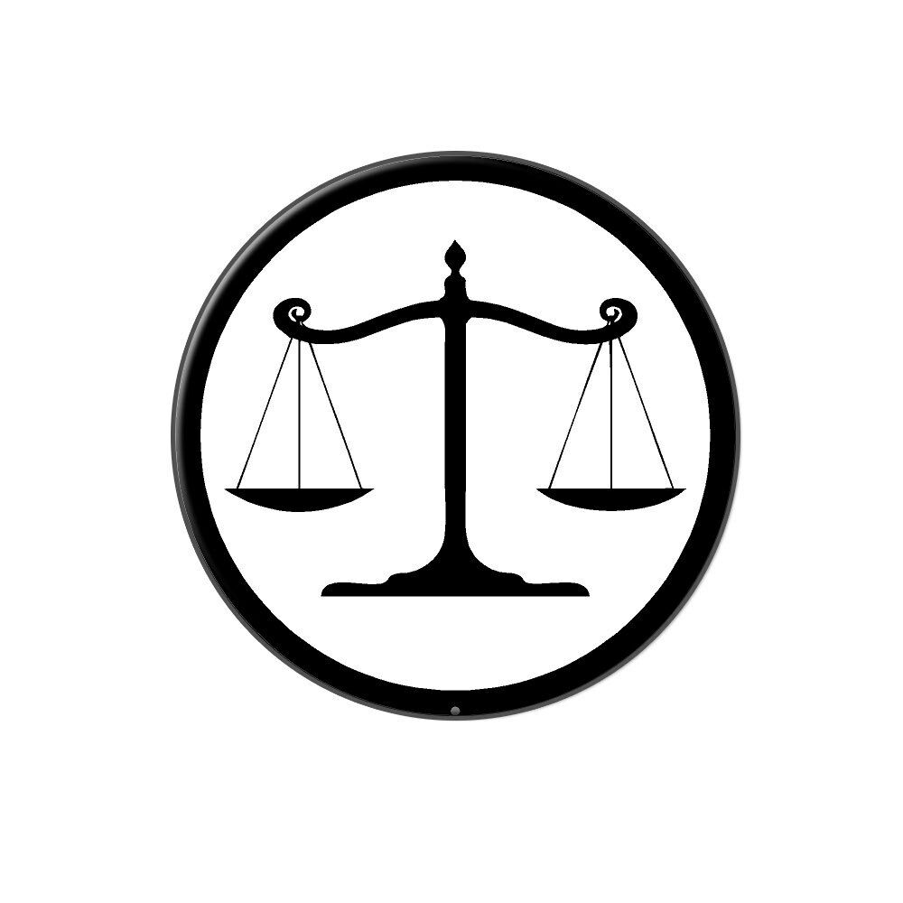 Balanced Scales Of Justice Symbol Legal Lawyer White Black Tie