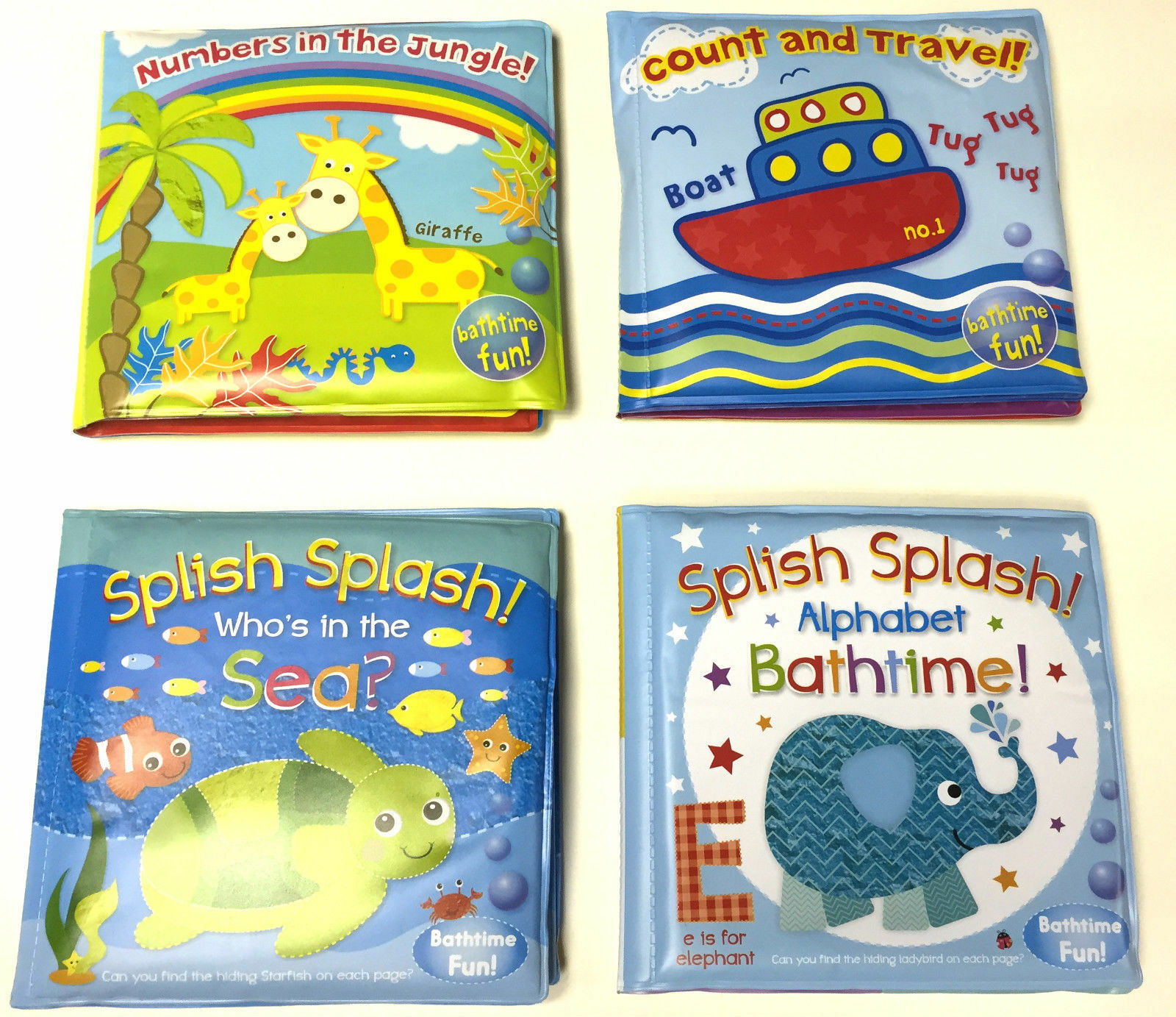 BRAND NEW BABY Bath Books Plastic Coated Fun Educational Toys For ...