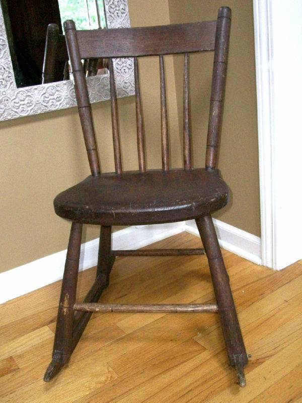 Antique Child Wood Rocking Chair Windsor Style
