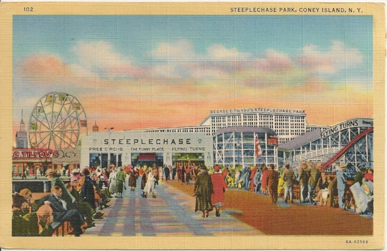 View Of Steeplechase Park Coney Island Ny Postcard Amusement Park