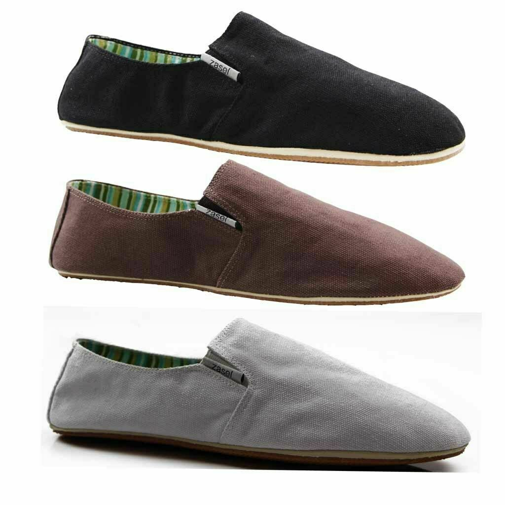 mens zasel cotton canvas slip on flats black brown white