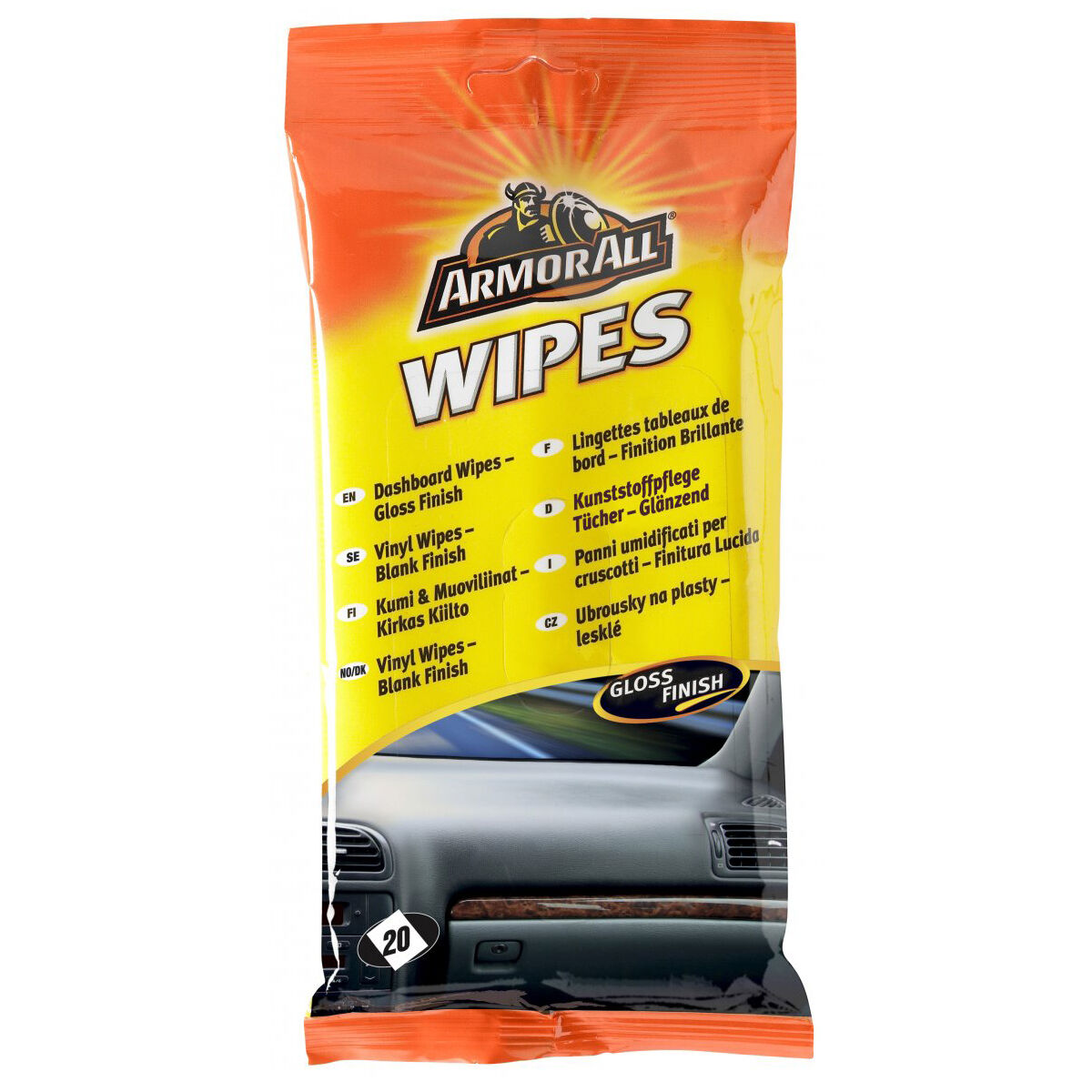 armorall car interior dashboard cleaner protector wipes 20 gloss finish picclick uk. Black Bedroom Furniture Sets. Home Design Ideas