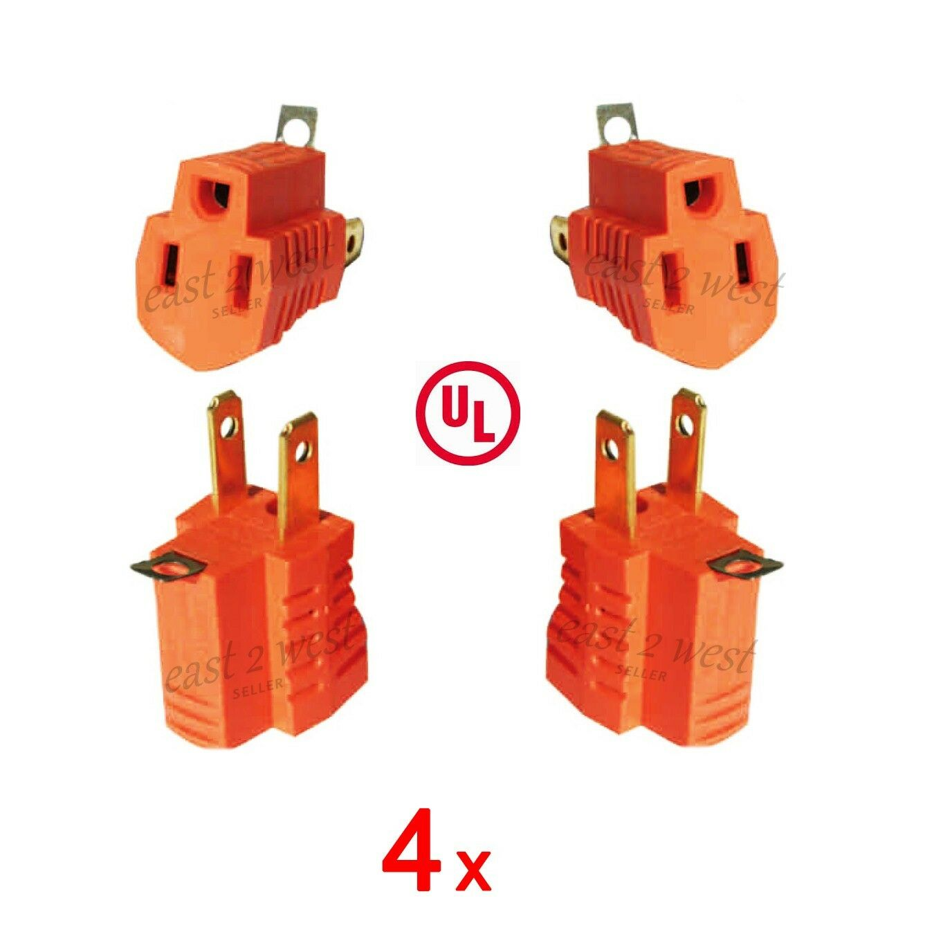 4x 2 Prong To 3 Ac Power Outlet Grounding Adapter Tap Plug Ul Vs Outlets Grounded 1 Of 1free Shipping