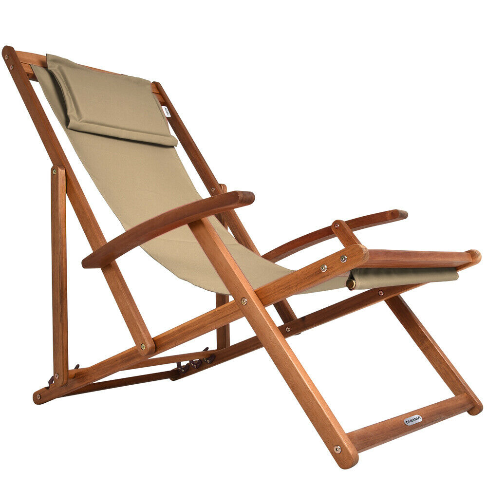 liegestuhl relaxliege garten sonnenliege strandliege holz stoff deck chair liege eur 34 95. Black Bedroom Furniture Sets. Home Design Ideas