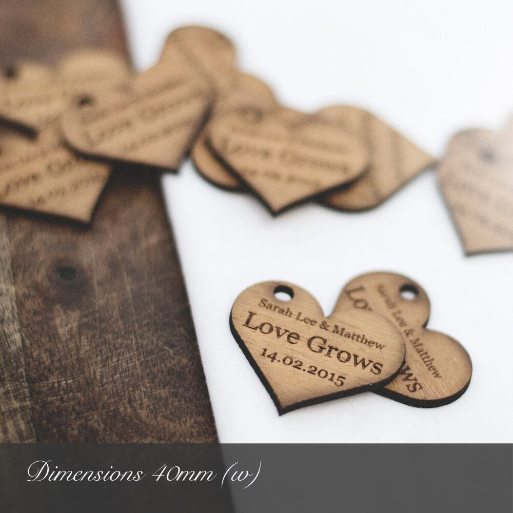Personalised 4cm Wooden Heart Wedding Favours For Invites Or Table Decorations