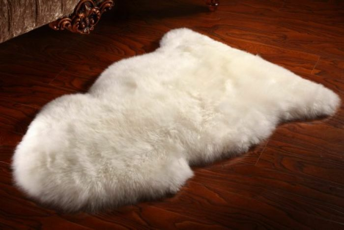 Natural White Real Sheepskin Rug Fleece Extra Thick Fur