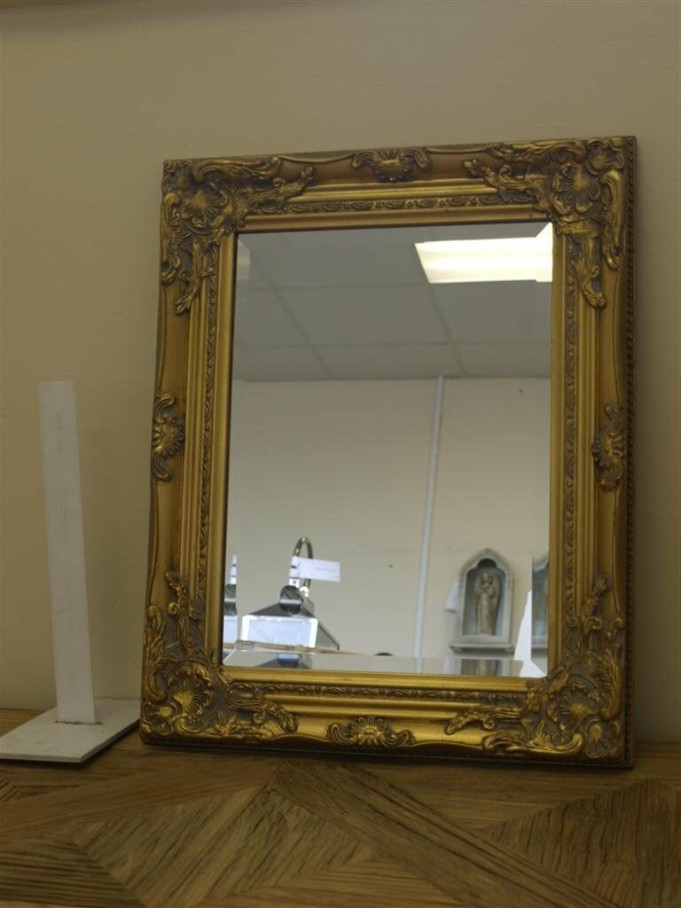 Half price small antique gold ornate wall mirror size 21 for Gold frame floor mirror