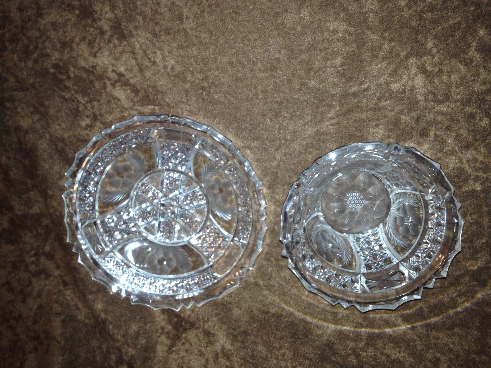 American Brilliant Cut Glass Mayonnaise Bowl and Plate
