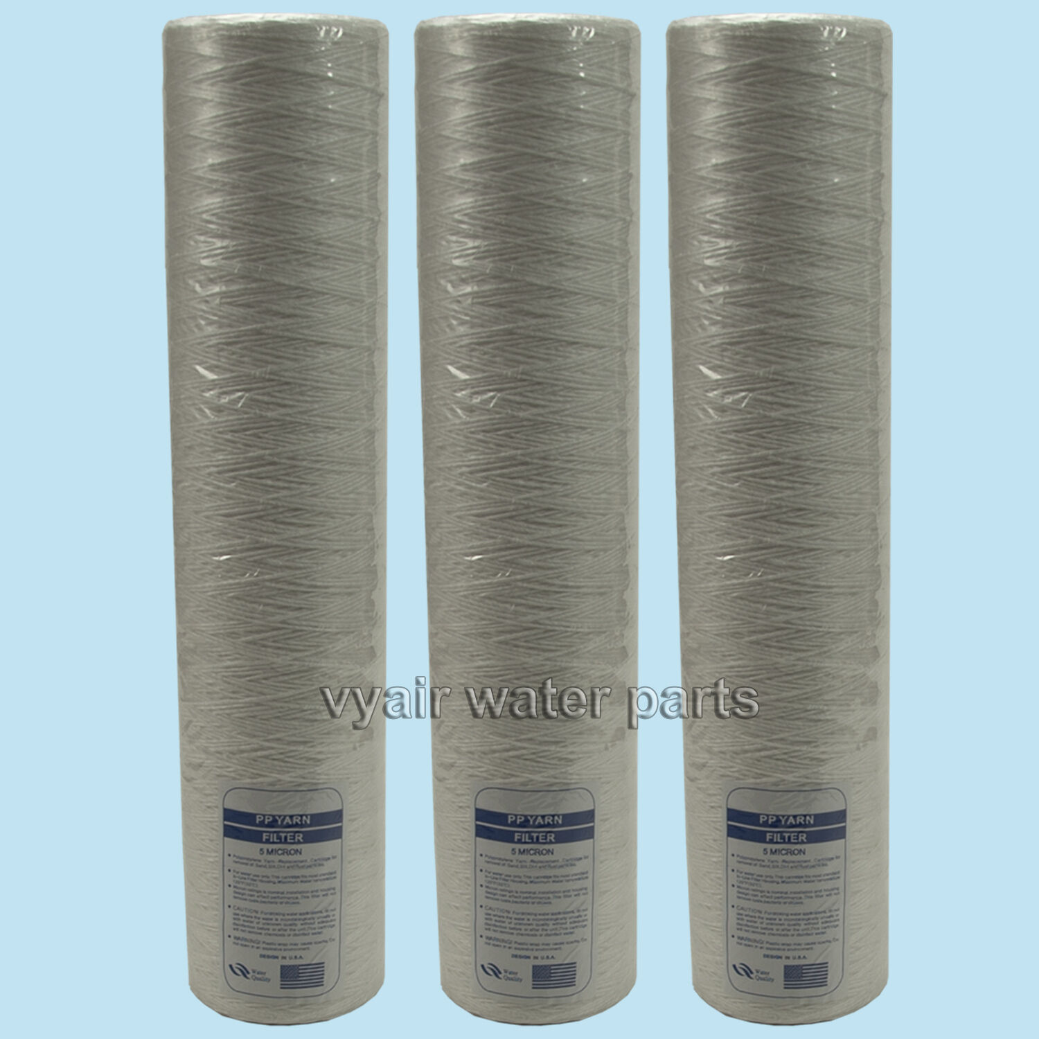 "3 x 20"" Wound Jumbo Sediment/Particle Filter, For Use with Reverse Osmosis Units"