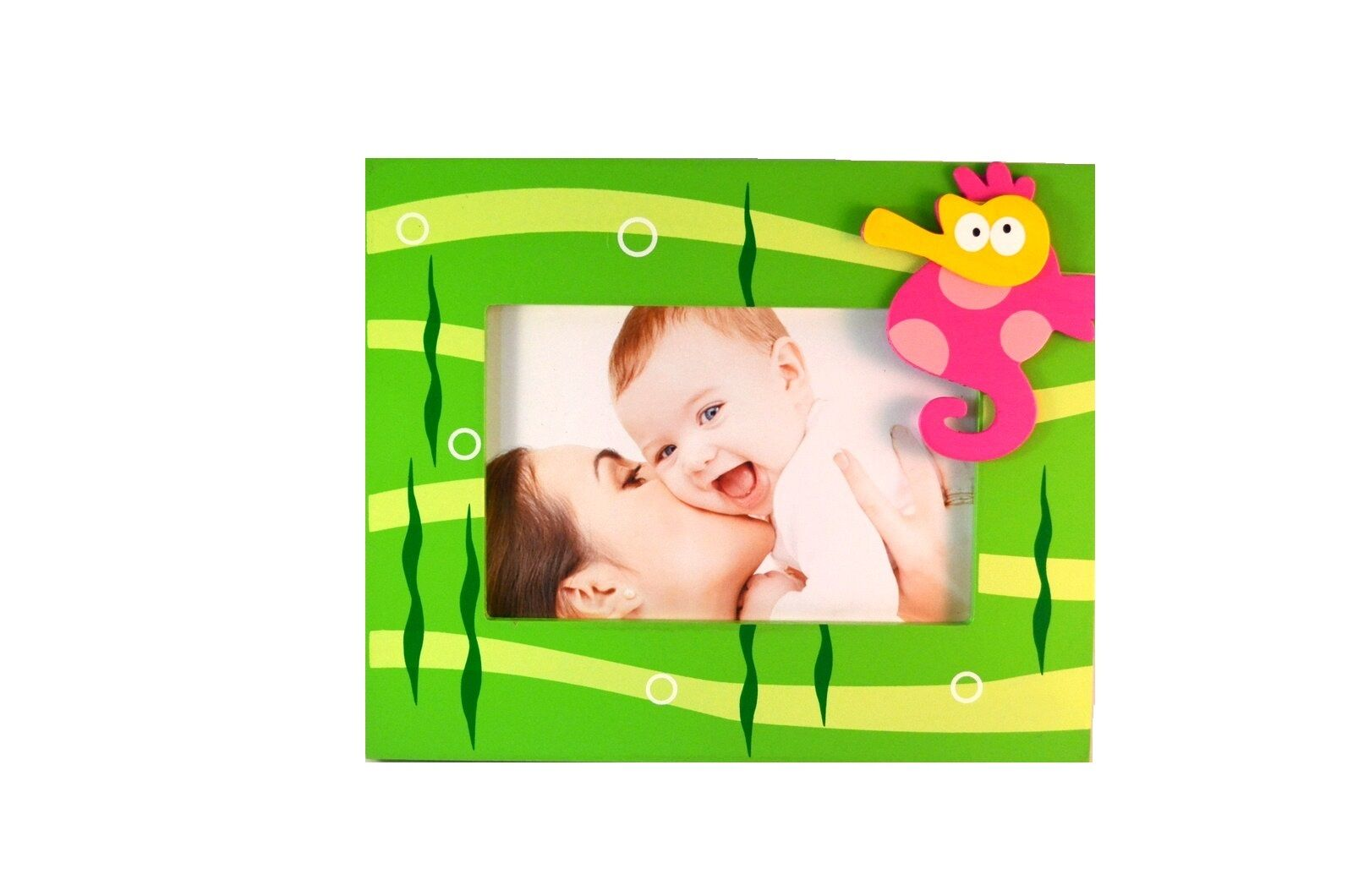 4X6 BABY KIDS Pink SEAHORSE Photo Frame Wooden For Picture Green Sea ...