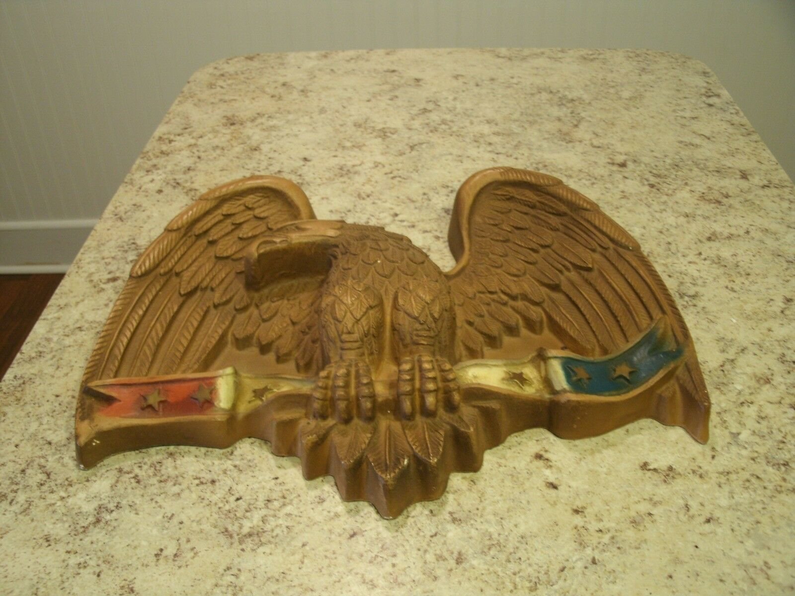 LARGE VINTAGE PLASTER / Chalkware American Eagle Hanging Wall Art ...