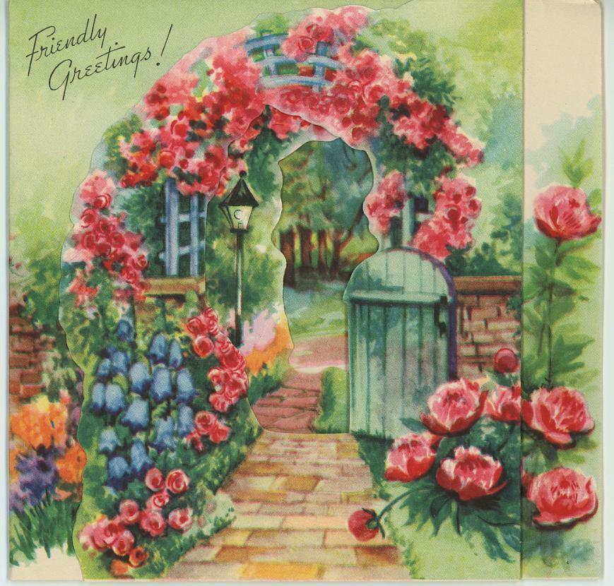 Vintage roses trellis arbor flower garden house trees for Classic house with flower garden
