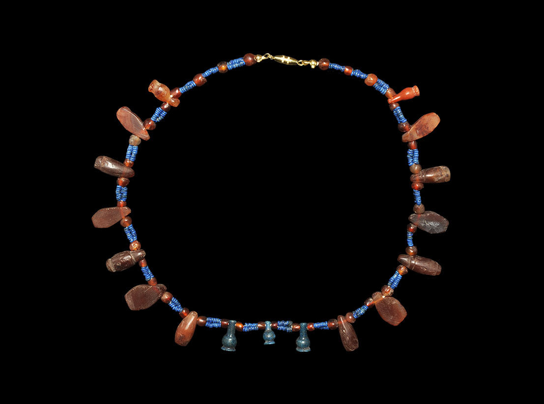 Egyptian Hardstone Necklace with Amulets