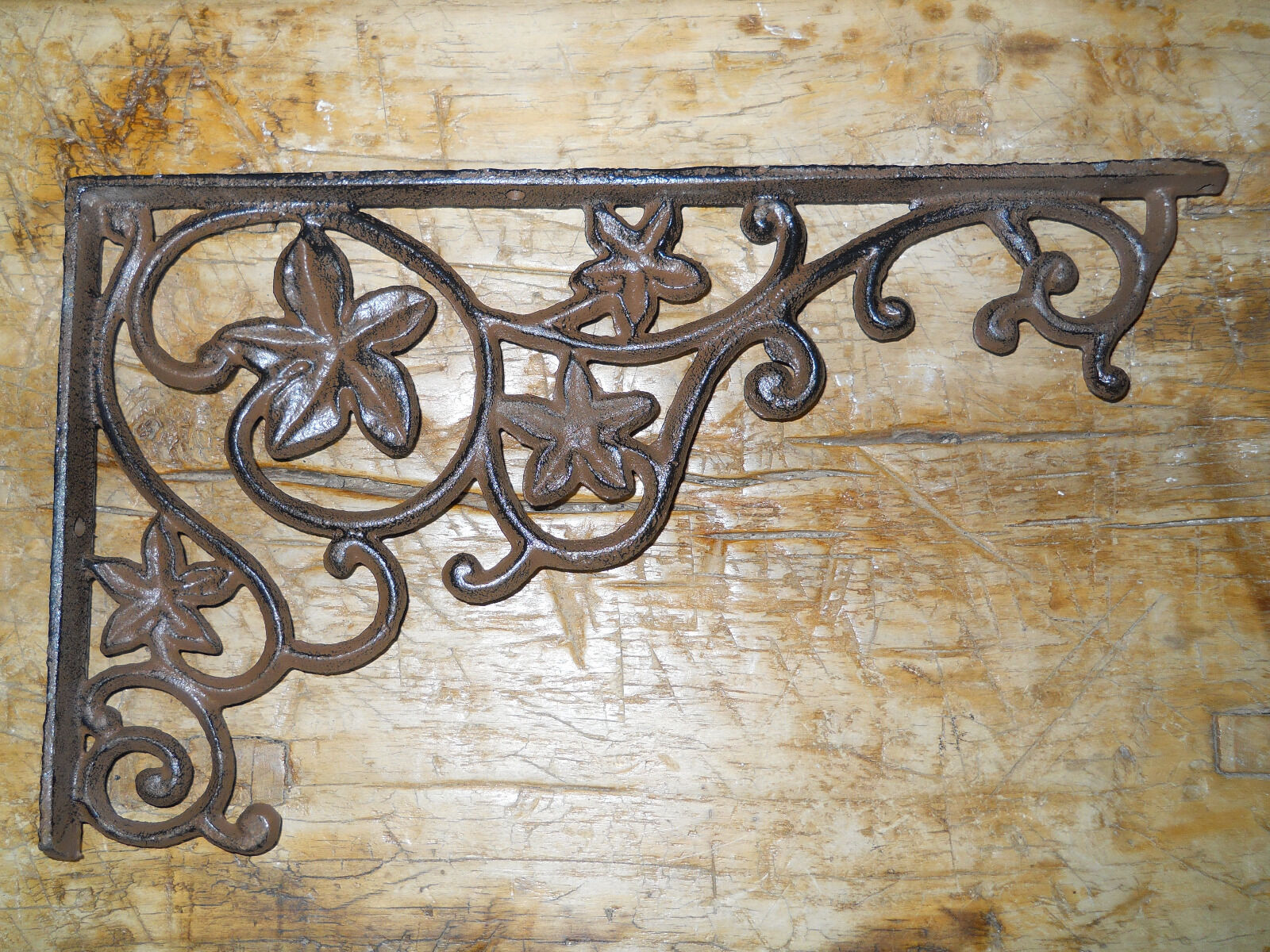 2 Cast Iron Antique Style Flower & Vines Brackets, Garden Braces Shelf Bracket