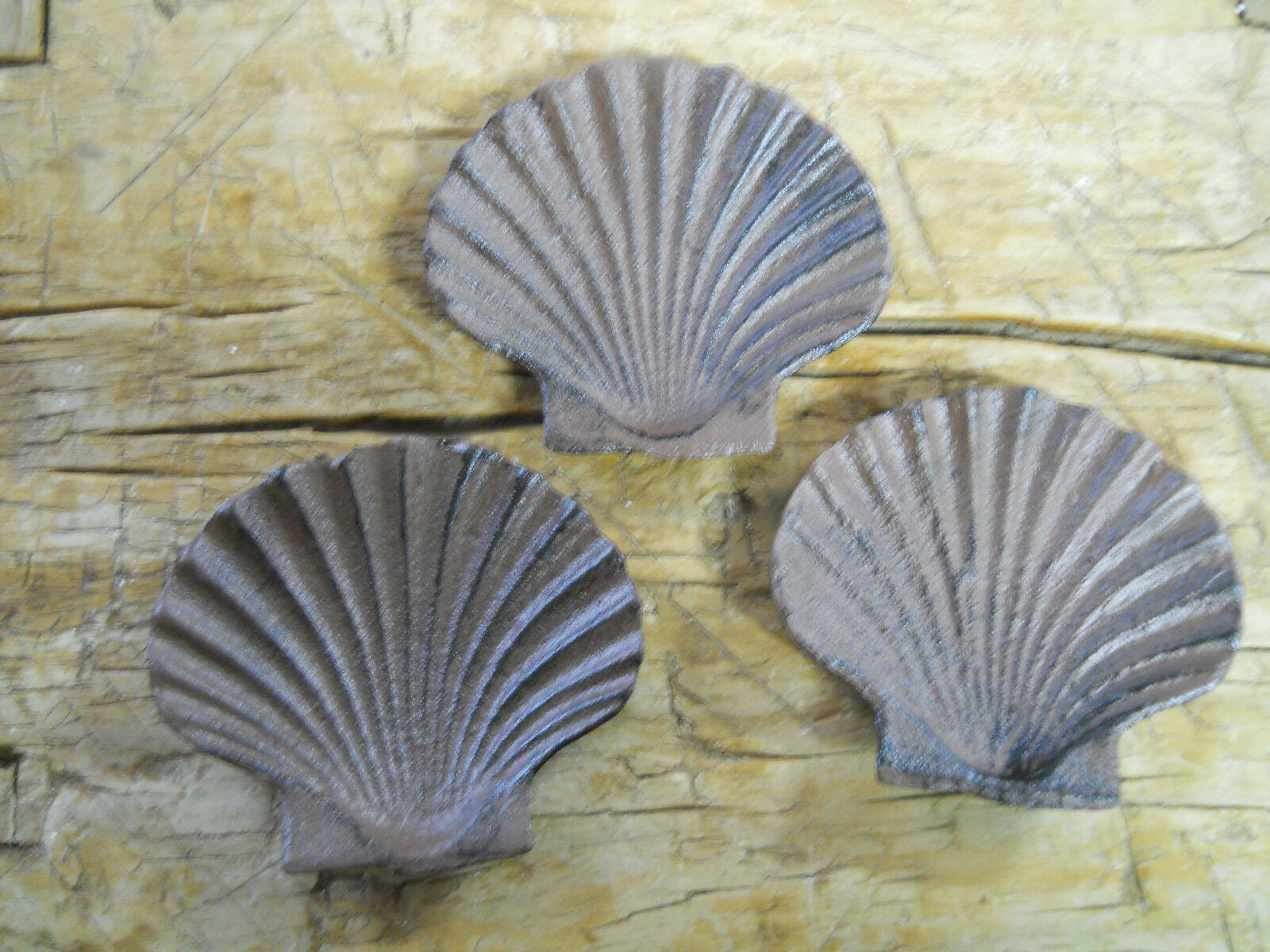 Set of 3 Cast Iron Antique Style Nautical SEA SHELL Soap Dish CLAM, OYSTER Brown
