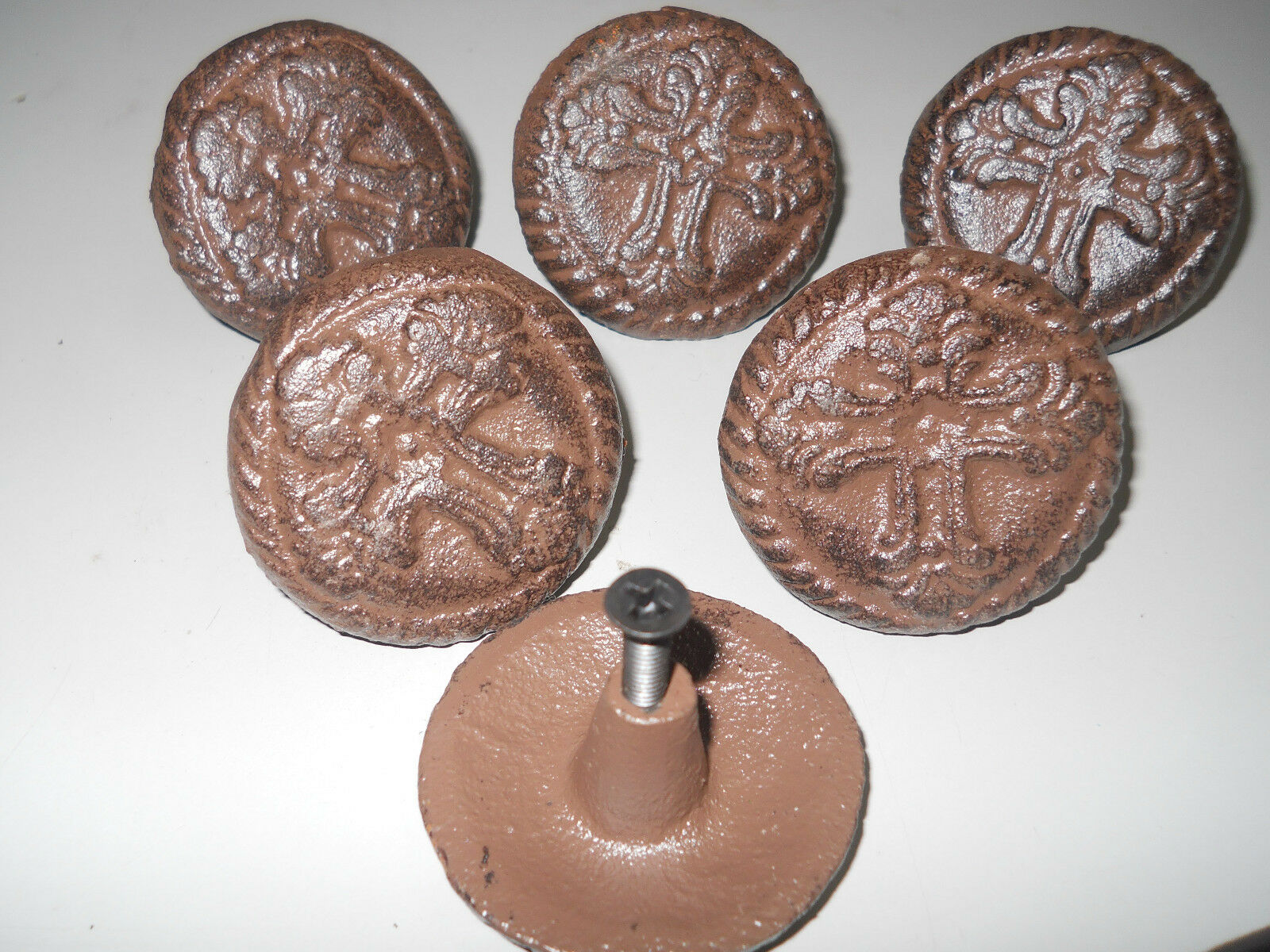12 Cast Iron Antique Style CROSS Drawer Pull Barn Handle Door Knobs ROUND CHURCH