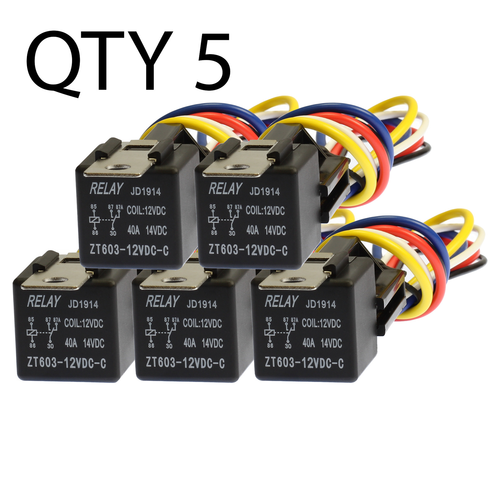 5 Pack 30 40 Amp Relay Wiring Harness Spdt 12 Volt Bosch Style S 1 Of 9only 3 Available
