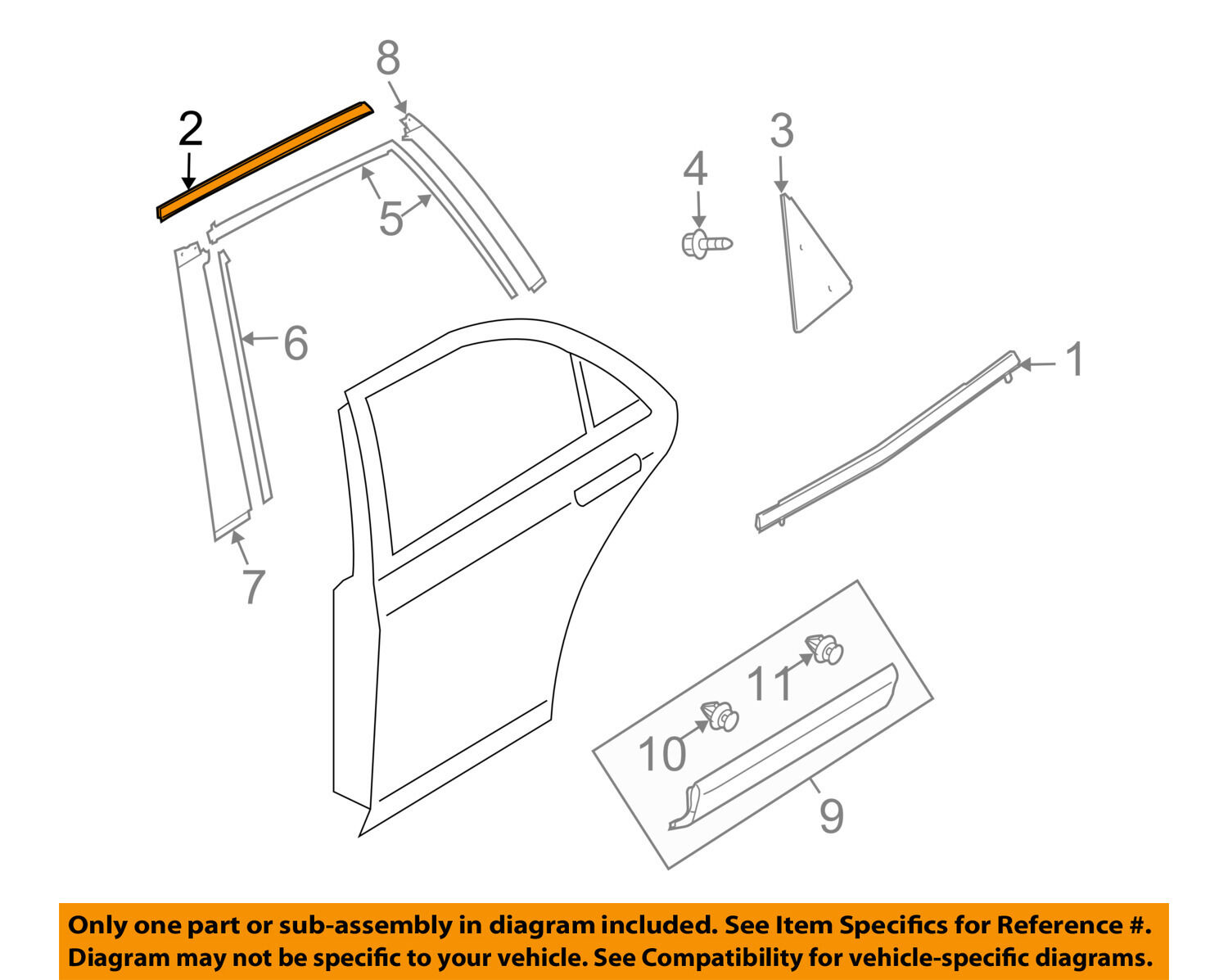 Mazda Oem 07 15 Cx 9 Exterior Rear Upper Molding Trim Right 2007 Engine Diagram 1 Of 2only 3 Available
