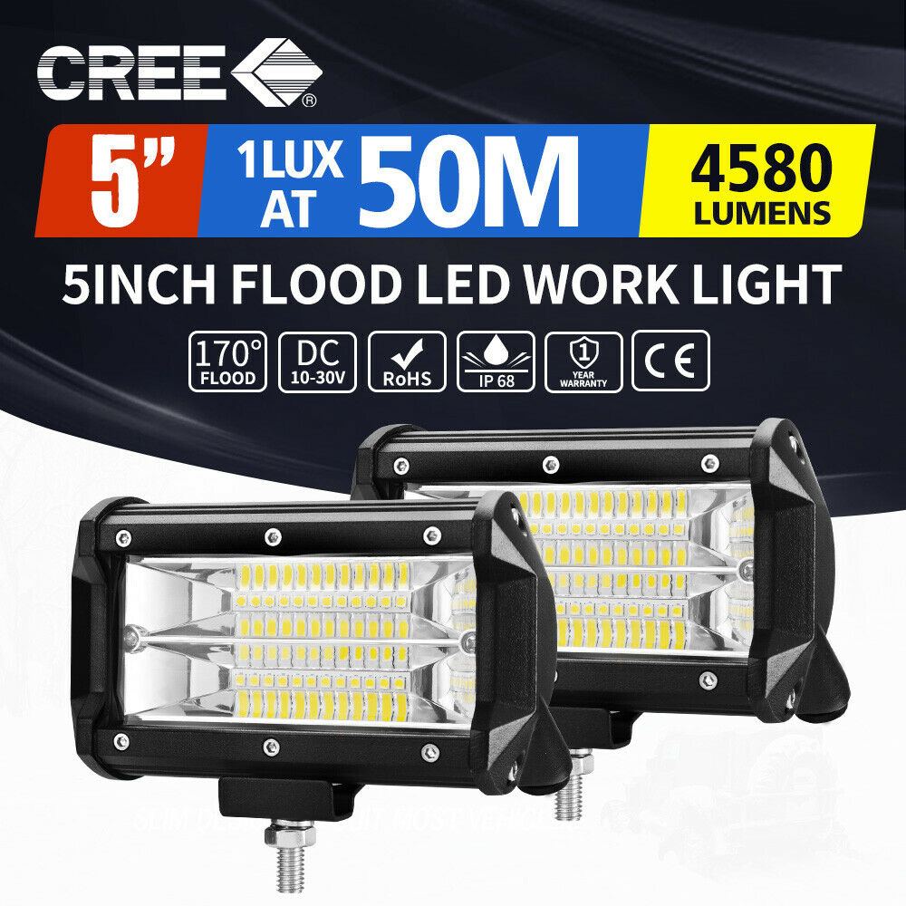 2x 5inch Cree Led Work Driving Light Bar Flood Beam Offroad Boat Accessories 12v 40a Hid Wiring Harness Kit Truck 24v 1 Of 11free Shipping See More