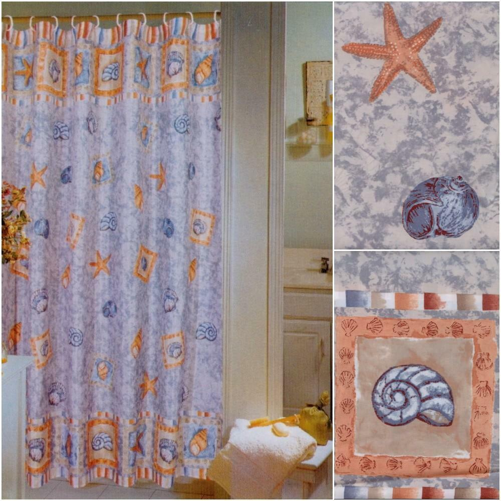 "... Beach House SEASHELLS Starfish Ocean Fabric Shower Curtain 70"" x 72"