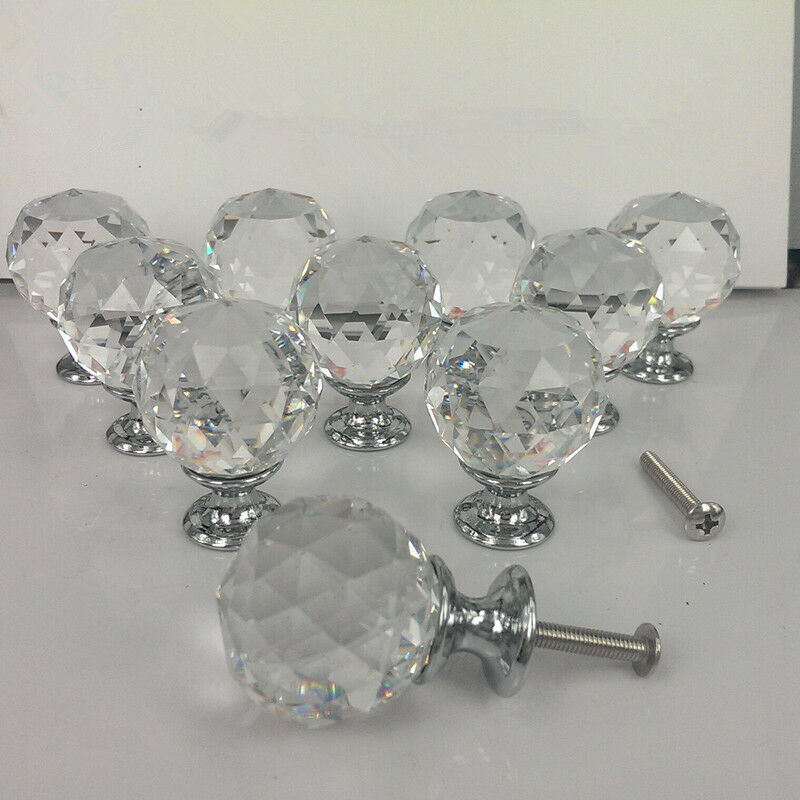 30mm Zinc alloy Spherical crystal sparkle cabinet drawer door pulls knobs handle