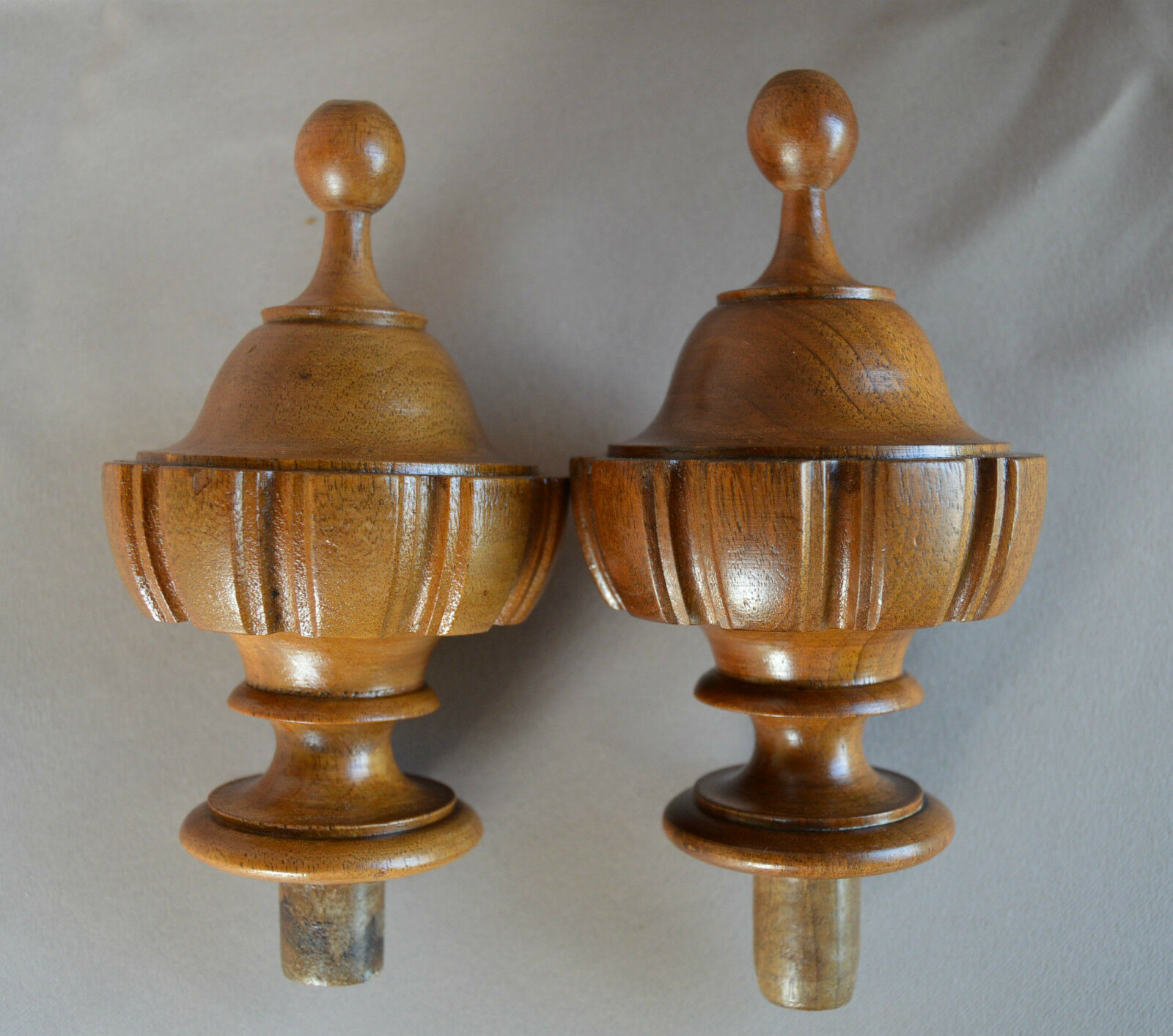 Walnut Wood Pair of Curtain-Rod Bed Finials, French Architectural Home Decor n°1
