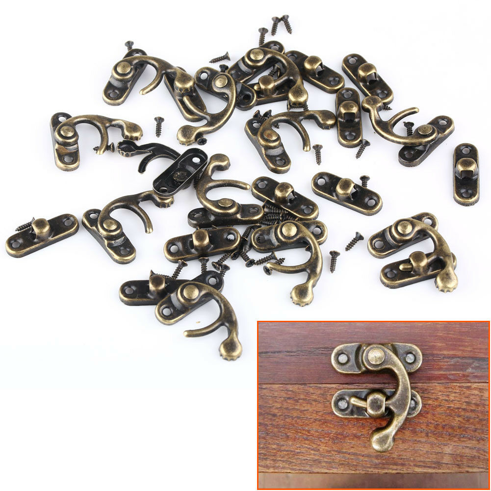12pcs 28mmx33mm Chinese vintage buckle tin trunk latch hook lock gift box buckle