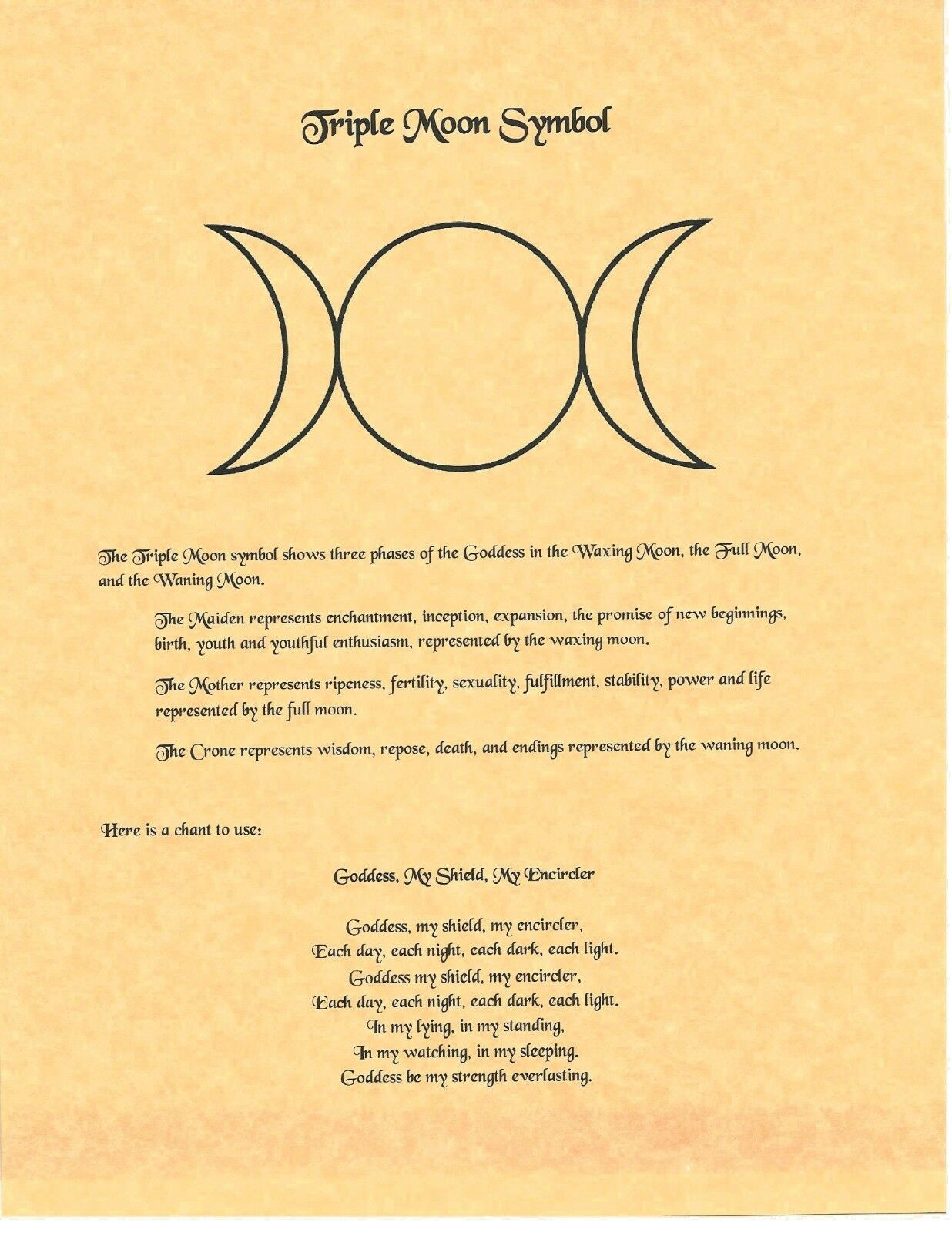Book Of Shadows Spell Pages Triple Moon Symbol Wicca