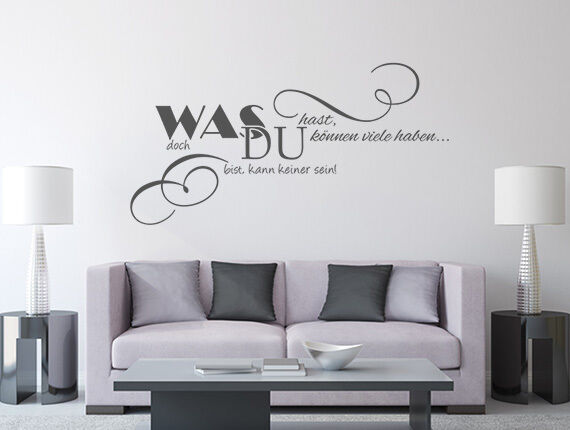 wandtattoo wohnzimmer spr che was du hast nr 1 wand tattoos wandsticker eur 18 95 picclick de. Black Bedroom Furniture Sets. Home Design Ideas