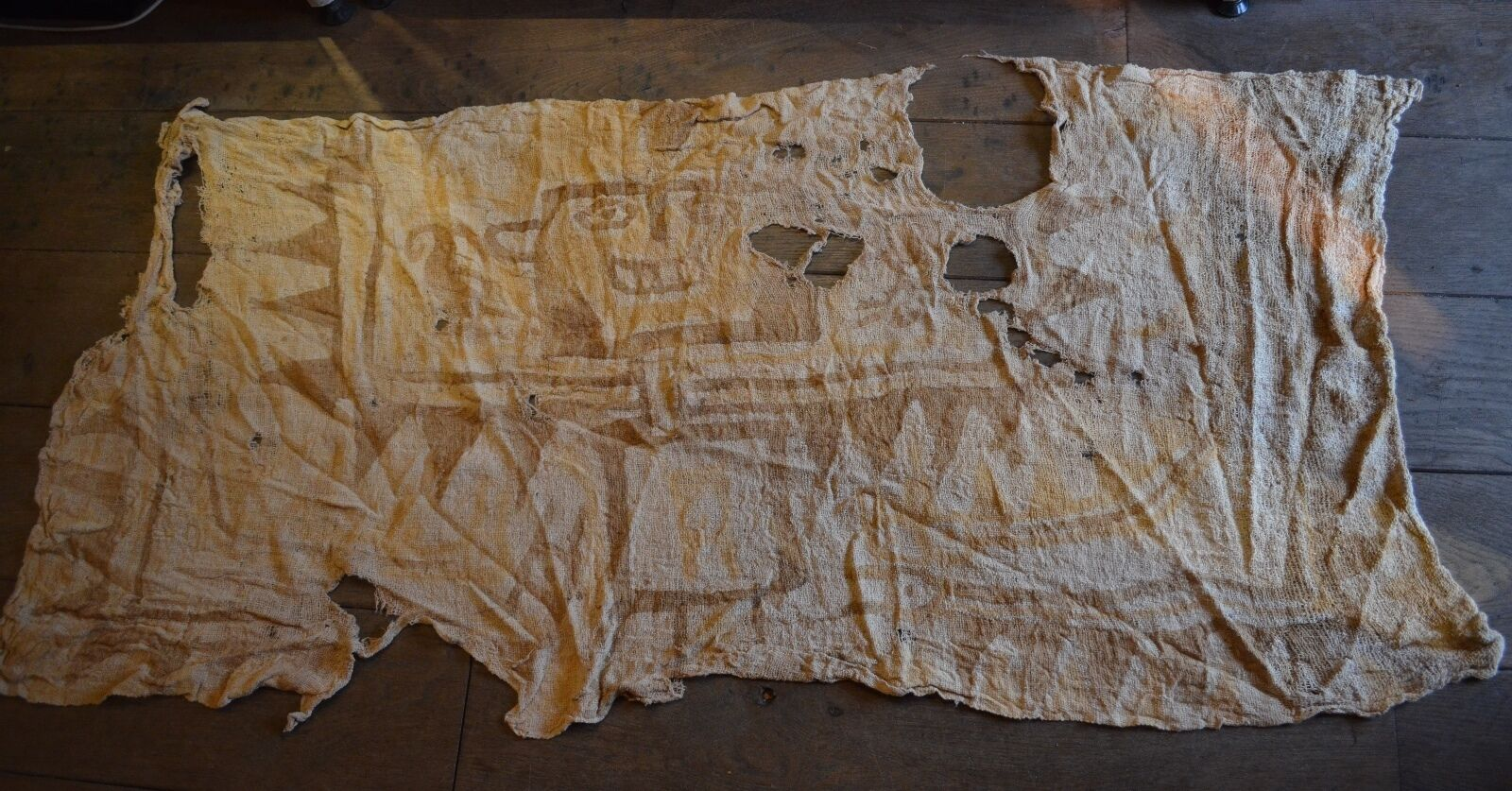 Interesting large Pre Columbian textile with painted face decor Chancay culture