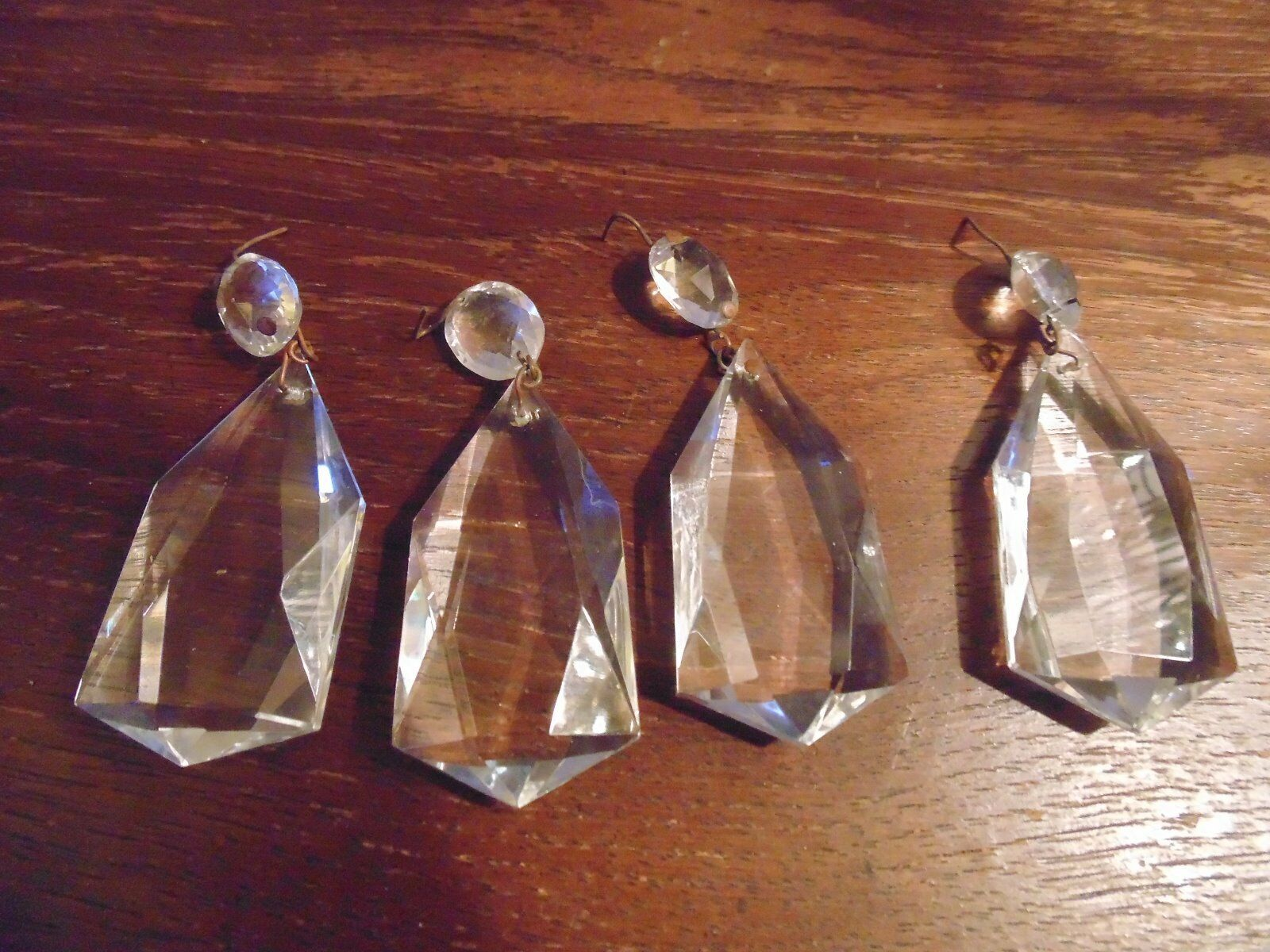 Antiques  Beautiful Prisms For Chandelier 8 Pc Crystal Cut Fixture From 1920S