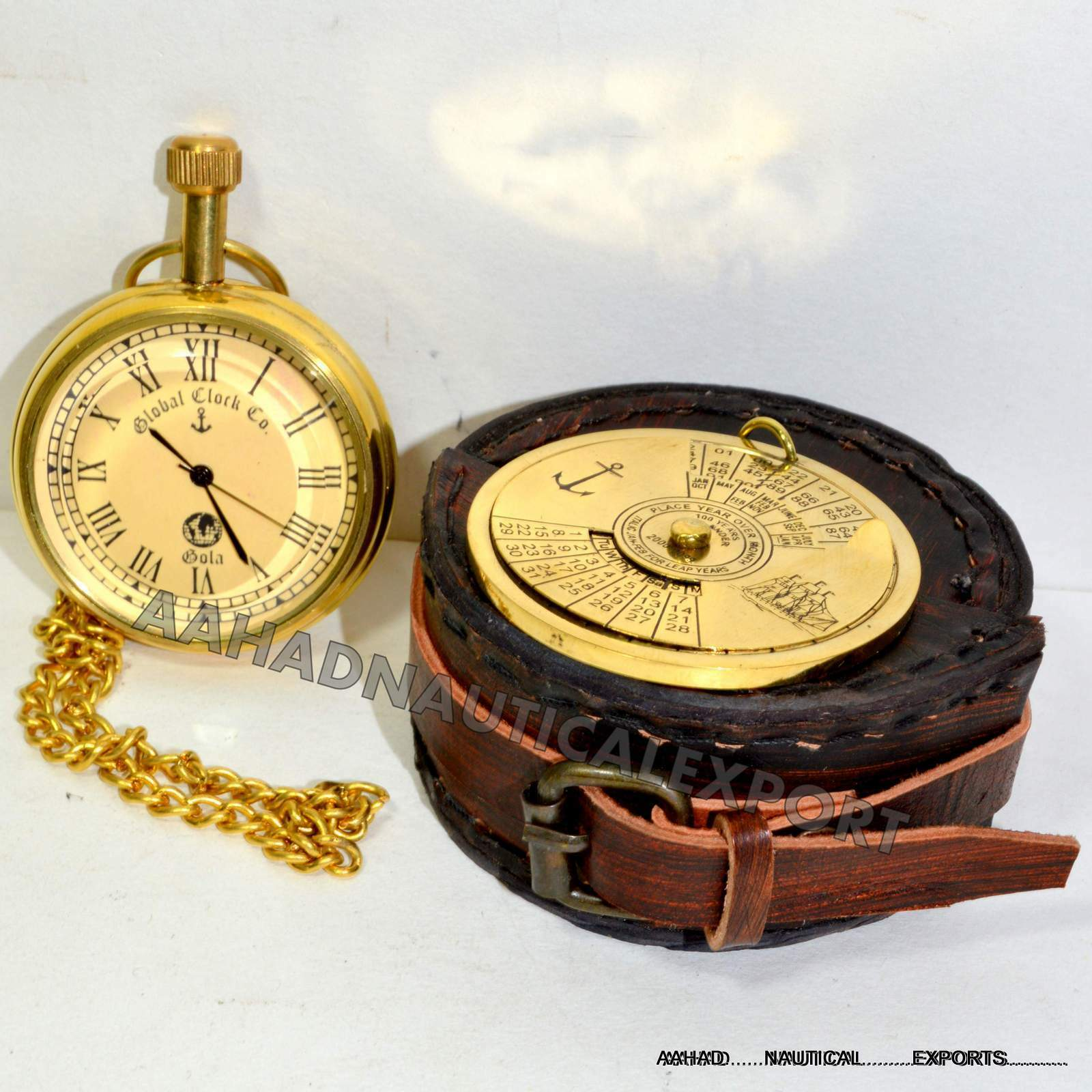 Antique Style Solid Brass Pocket Pocket Watch Working Box 100 Year Calander Case