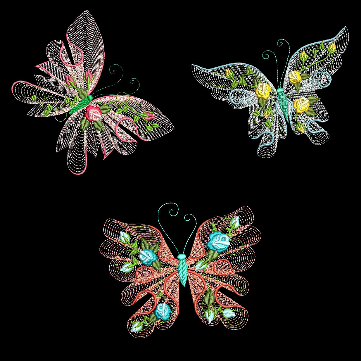 FLUTTERBY LUV #1 - 30 Machine Embroidery Designs (Azeb ...