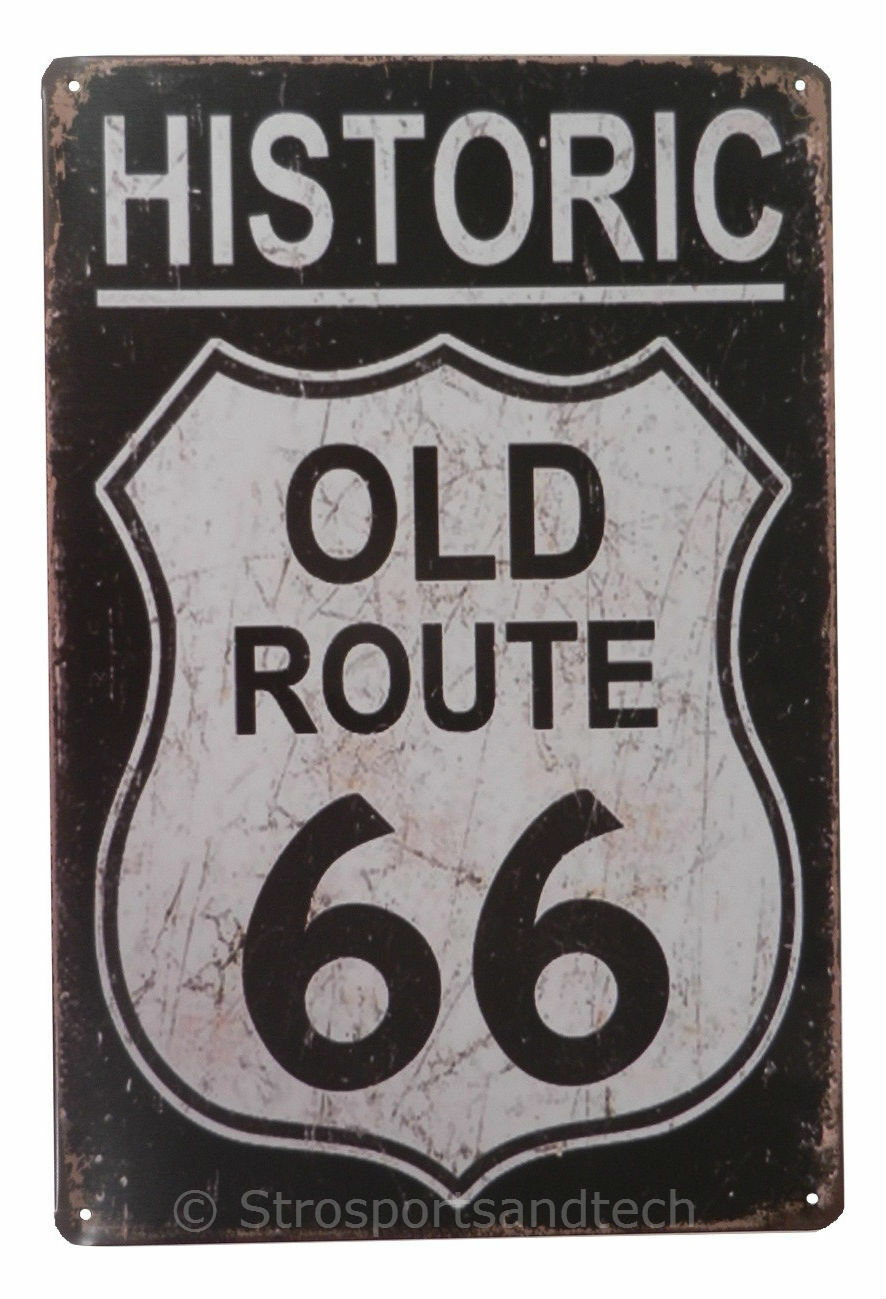 Historic Old Route 66 Funny Tin Sign Bar Cafe Garage Wall Decor