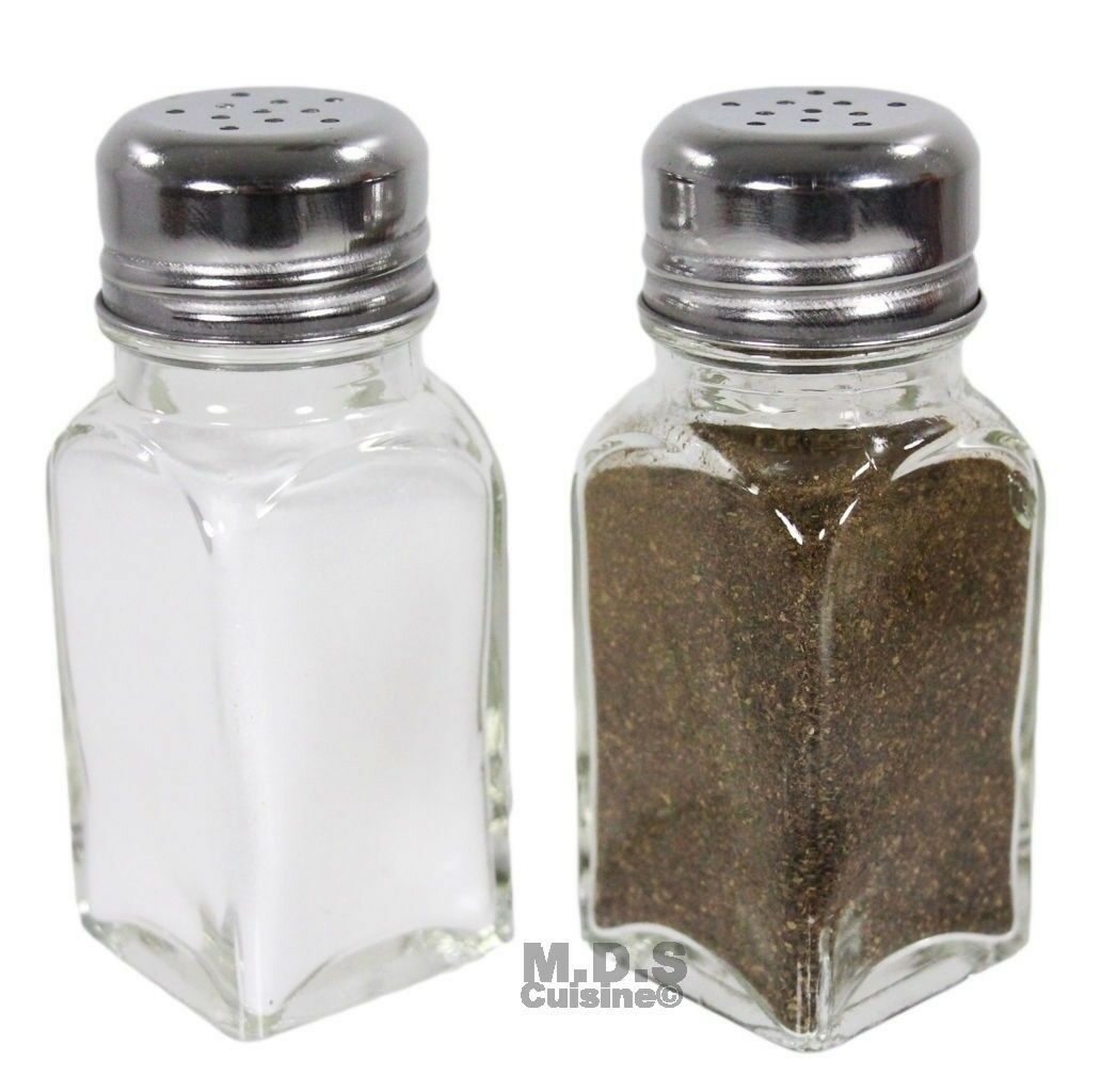 Salt And Pepper Shaker Set Of 2 Stainless Steel And Clear