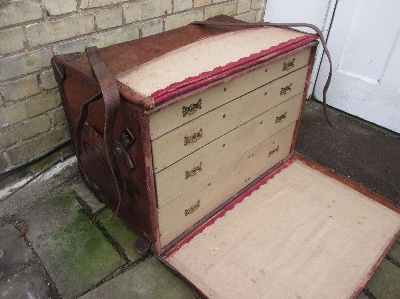 Rare J Foot & Sons Antique Leather Shirt Travel Trunk. Circa 1900.