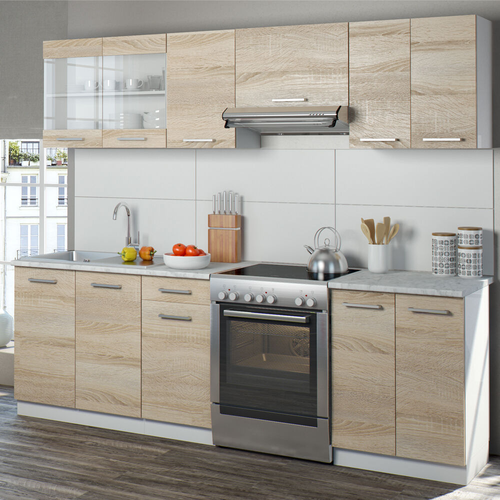 cucina 240 cm cucina componibile cucina monoblocco cucina americana sonoma eur 469 90. Black Bedroom Furniture Sets. Home Design Ideas
