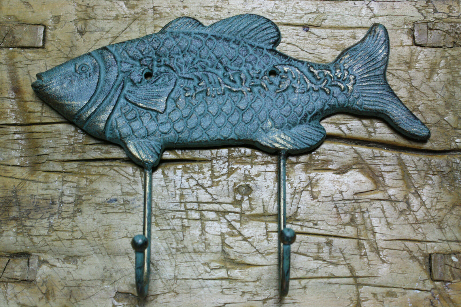 Cast Iron FISH Towel, Coat Hooks,  Hat Hook, Key Rack FISHING GREEN
