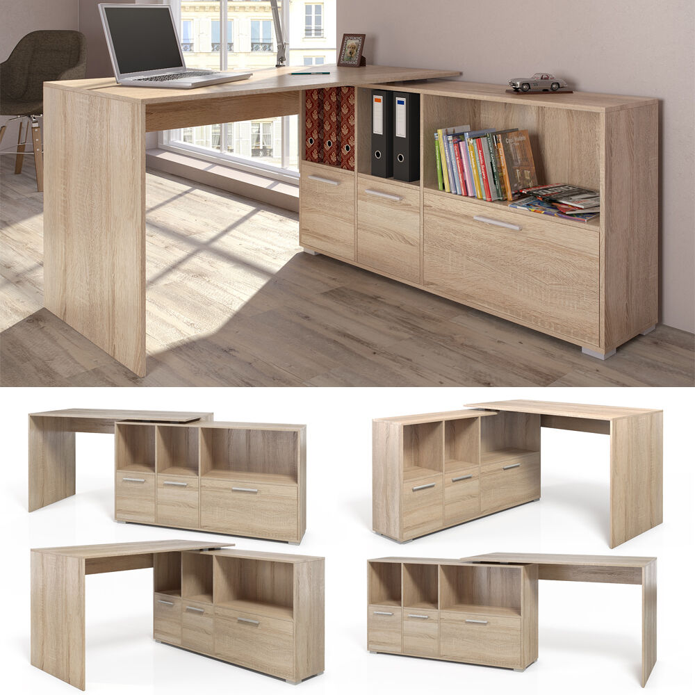 bureau en u bureau d 39 angle bureau multim dia de couleur de sonoma ch ne eur 124 90 picclick fr. Black Bedroom Furniture Sets. Home Design Ideas