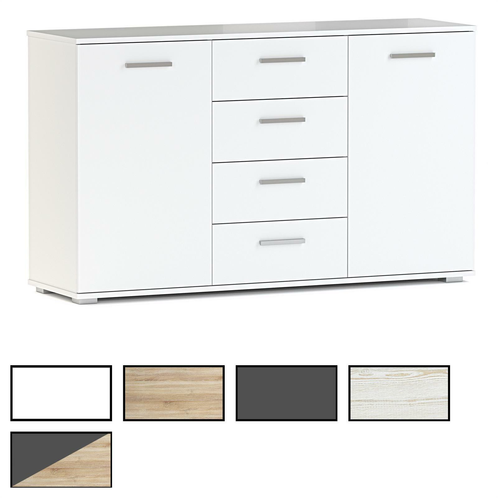 Kommode sideboard anrichte schrank highboard 2 t ren 4 for Garderobe 28 cm tief
