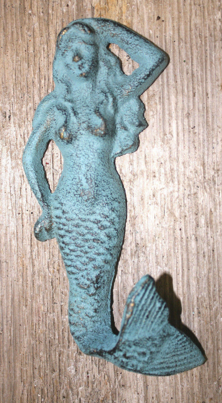 Cast Iron Mermaid Towel Hooks Hat Rack Nautical Swimming Pool Hook Blue 1 Of 3free Shipping See More