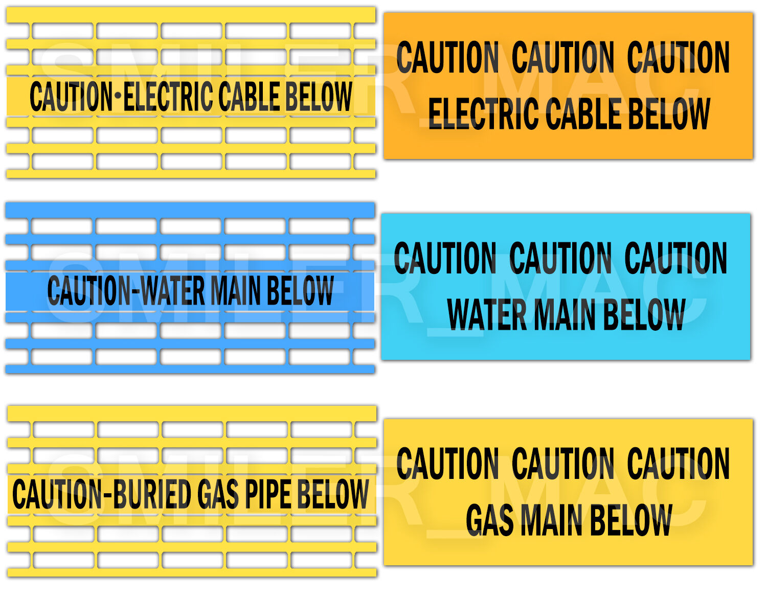 CAUTION WATER/GAS/ELECTRIC BELOW Tape/Detectamesh Cable Pipe Warning ...