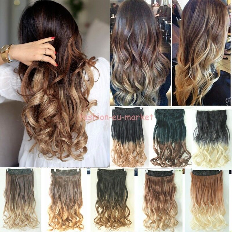 Real Thick Ombre Hair Clip In Hair Extensions One Piece Half Full